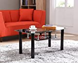 Hodedah Two Tier Rectangle Tempered Glass Coffee Table, Black