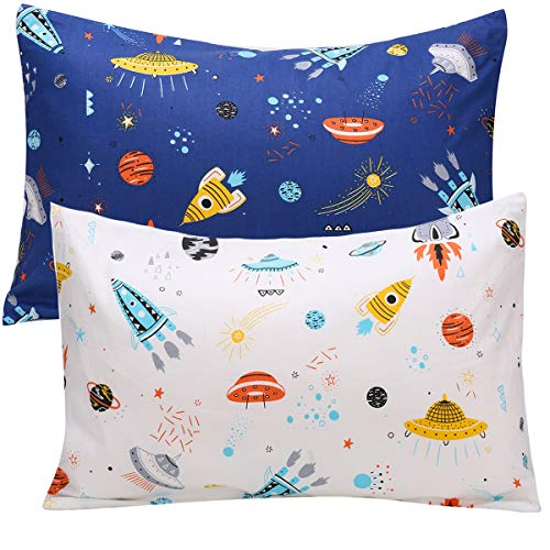 UOMNY Kids Toddler Pillowcases 2 Pack 100% Cotton Pillow Caver Pillowslip Case Fits Pillows sizesd 13 x 18 or 12x 16 for Kids Bedding Pillow Cover Baby Pillow Cases Space White/Blue