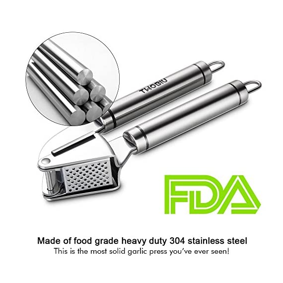 Aickar Garlic Press, FDA Approved Garlic Mincer and Chopper, Garlic Peeler Silicone Tube Roller and Crusher, Garlic Chopper Stainless Steel 2 1. [Solid Stainless Steel]: This garlic press metal is made of solid and high quality stainless steel to ensure it's durability and long lifespan. And most of all, this garlic press chopper is approved by FDA, you can rest assured to use it and set in your everyday cooking. 2. [Efficient Press Garlic Chopper]: Mincing both unpeeled and peeled garlic cloves with this garlic press mincer is quickly and easily. A simple squeeze could save you a lot of time and efforts. Better yet, it's designed to mince garlic into fine and uniform size and achieve the minimum waste of garlic. 3. [Easy Squeeze Garlic Press]: This garlic press is designed with heavy duty structure yet not too heavy to grip, together with garlic press good grips that are designed according with human body mechanics, making mincing garlic and effortless, easy and fun work to do in your kitchen!