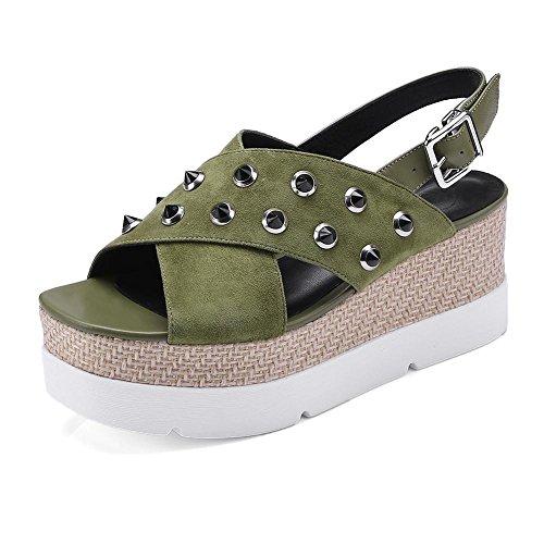 Para Caminar Moda Toe Mujer Peep Mujeres con de Zapatos Chanclas KJJDE Sandalias Remache Q25D2 Green Confort Tacón Zapatos Zapatilla LZ de Accesorios Plataforma w6Rnq1S