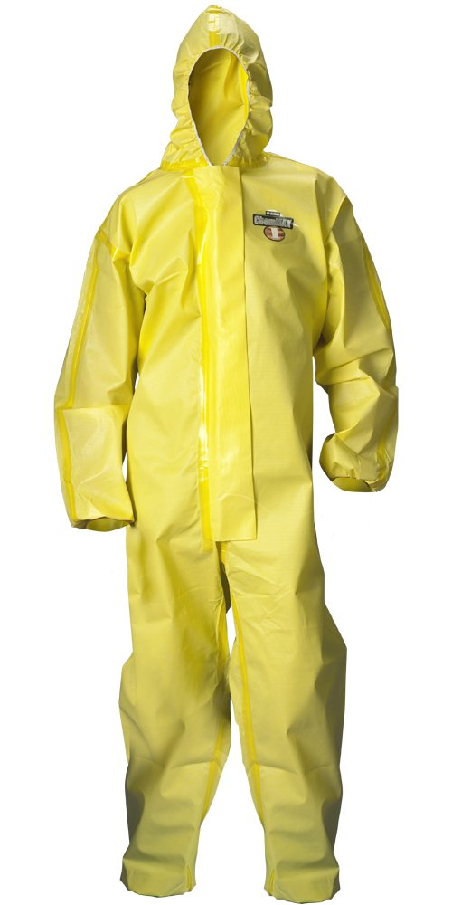 Lakeland ChemMax 1 Sealed Seam Disposable Coverall with Hood, Elastic Cuff, Large, Yellow (Case of 6)