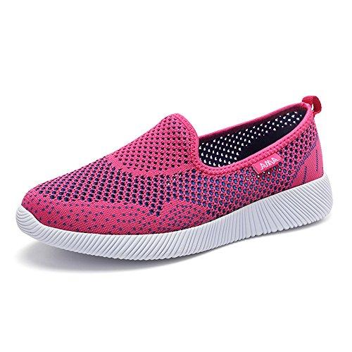 Monrinda Women's Lightweight Mesh Slip 0n Trainers Ladies Low-Top Sneakers Breathable Flying Woven Running Trainers Outdoor Leisure Go Walking Sport Shoes Plum hLfgE