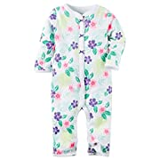 Carter's Girl Cotton Floral Snap-Up Footless Sleep & Play; White & Purple (3 Months)