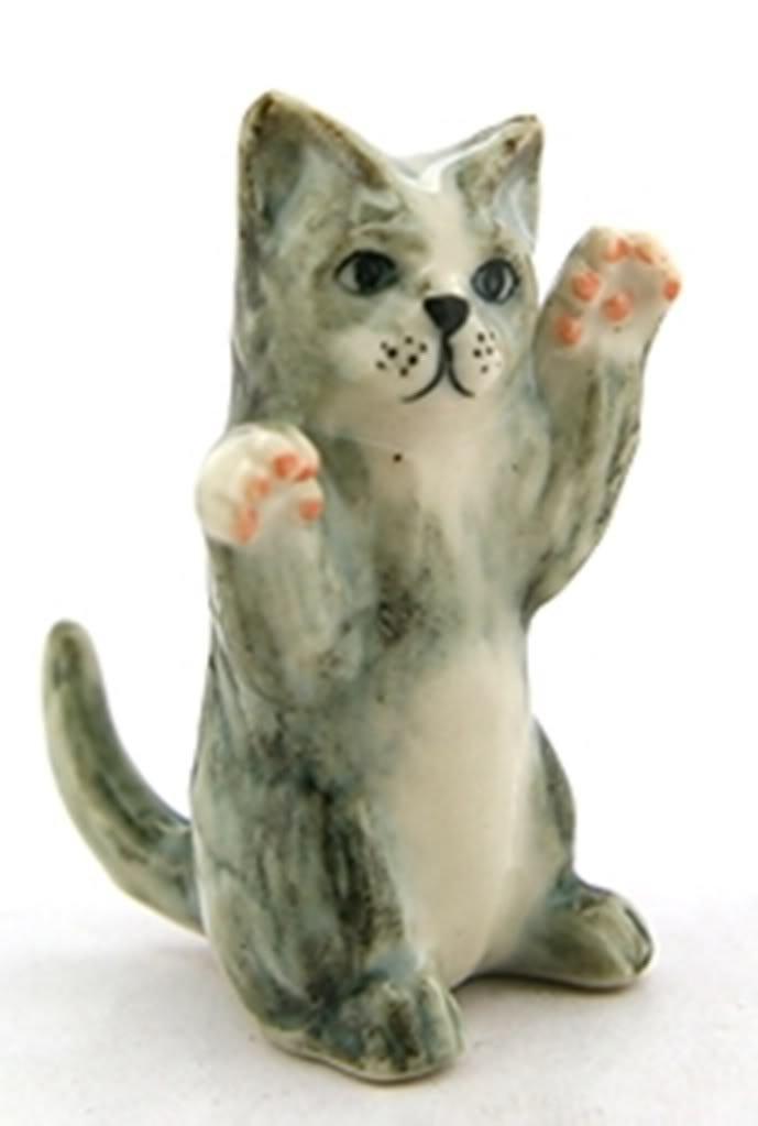 ChangThai Design Dollhouse Miniatures Ceramic Gray Cat dancing FIGURINE Animals Decor