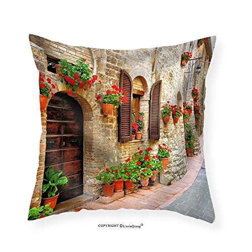 VROSELV Custom Cotton Linen Pillowcase Picturesque Lane with Flowers in an Italian Hill Town - Fabric Home Decor - Italian Camp Hill