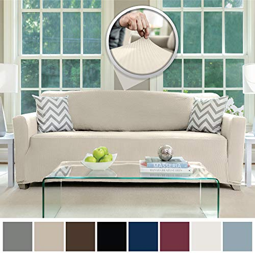 Sofa Shield Original Fitted 1 Piece Sofa Slipcover, Soft Stretch Material, Seat Width Up to 70 Inch Furniture Protector, Washable Couch Covers, Spandex Fit Slip Cover, Dogs, Pets, Kids, Sofa, Linen (Best Sofa Material For Dogs)