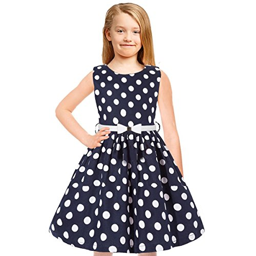 Tkiames Girls Vintage Polka Dot Easter Sleeveless Casual Swing Party Dress with Belt (2T(2-3 Years), Navy2)