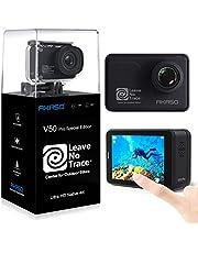 AKASO Action Cam 4K/60FPS 20MP WiFi Actioncam Ultra HD 39M onderwatercamera touchscreen EIS instelbare kijkhoek met afstandsbediening, 3 batterijen en accessoirekits (V50 Pro SE)