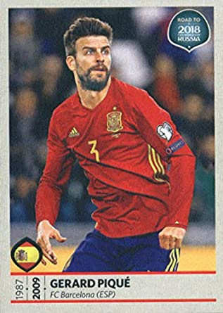 2017 Panini Road to 2018 FIFA World Cup Russia  67 Gerard Pique Spain Soccer  Sticker 53aabc926