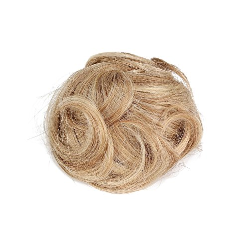 Rosette Hair 100% Human Clip on/in Messy Hair Bun Extension Curly Hair Chignons Donut Hair Piece Wig (Blonde) - Link From Hairspray Costume