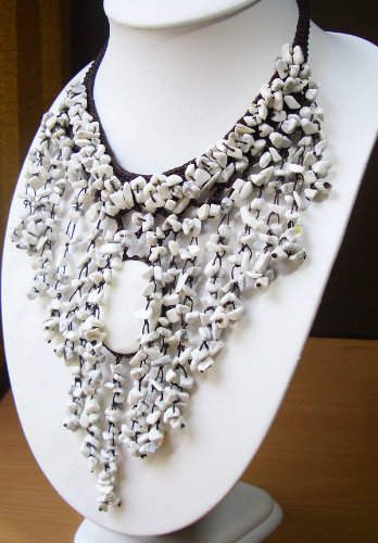 Vintage costume jewelry necklace semi precious stone with chochet vintage costume jewelry necklace semi precious stone with mozeypictures Images