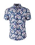 uxcell Men Summer Floral Print Slim Fit Short Sleeve Button Down Hawaiian Shirt XLarge Blue