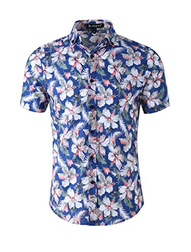 uxcell Men Slim Fit Floral Print Short Sleeve Button Down Beach Hawaiian Casual Aloha Shirt Blue-Light Pink Floral Print S (US 36)
