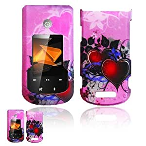 Motorola Bali WX415 Pink and Hearts 3D Design Case + Free Screen Cleaning Cloth