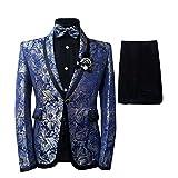 Cloudstyle Men's Plaid Tuxedo Casual Dress Suit Slim Fit Jacket & Trouser