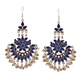 Traditional Indian Bollywood Jewelry Oxidized Silver Afghani Tribal Chandbali Earrings for Women