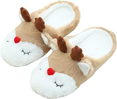 Zapatillas De Mujer Zapatillas De Animales De Otoño E Invierno Zapatillas De Ciervo De Navidad Zapatillas De Felpa Cálidas para Interiores