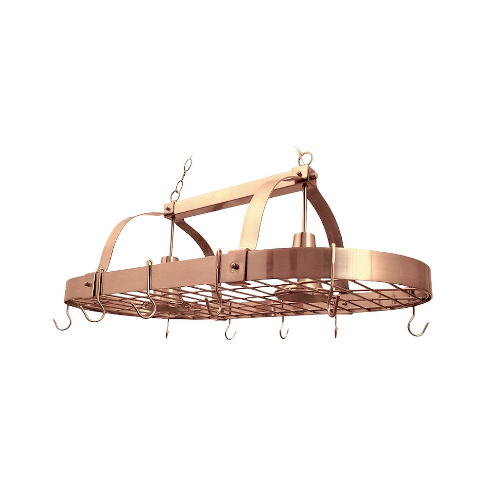 Elegant Designs PR1000-CPR 2 Light Kitchen Pot Rack Home Collection 2 Light Kitchen Pot Rack with Downlights,Copper Finish by Elegant Designs