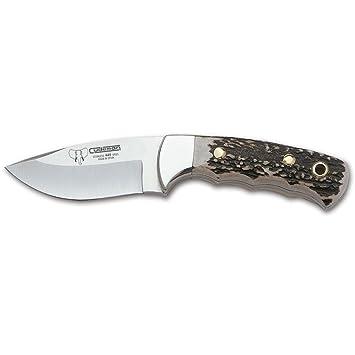Cudeman Cuchillo desollador 142-C con Mango de Asta de Ciervo Hoja de 8.5 cm con Funda de Cuero marrón. Unidad en Liquidación