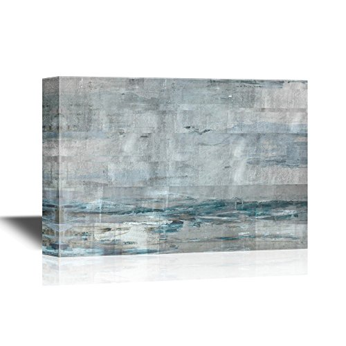 wall26 Canvas Wall Art - Abstract Grunge Light Blue Color Composition - Gallery Wrap Modern Home Decor | Ready to Hang - 24x36 - Wallpaper Color Expressions