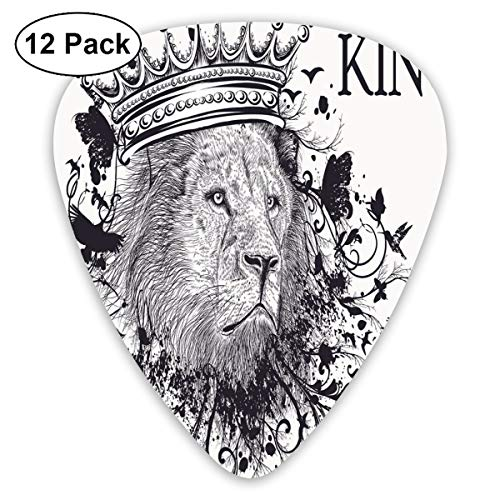 (Guitar Picks - Abstract Art Colorful Designs,Reign Of The Jungle Forest Symbol Of Courage Safari Animal Lion Grunge Design,Unique Guitar Gift,For Bass Electric & Acoustic Guitars-12 Pack)
