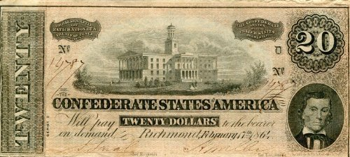 1864 Confederate States of America $20 Note from Richmond Slightly Used (VF/XF) ()