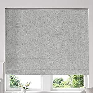 Blinds2Curtains Grey 180H x 160W Cm Ainsley Silver Roman Window Blinds