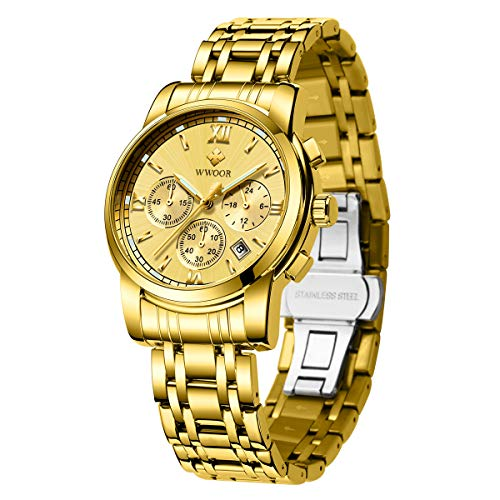 WWOOR Men's Watch Sports Chronograph Waterproof Analog Quartz Watch Stainless Steel Business Date Casual Big Face Gift Watch (Gold)