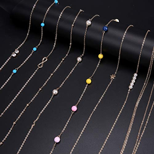 Ancoo 9 Pcs Gold Waist Chain Beach Bikini Belly Chain Waist Chain Body Jewelry for Women Grils