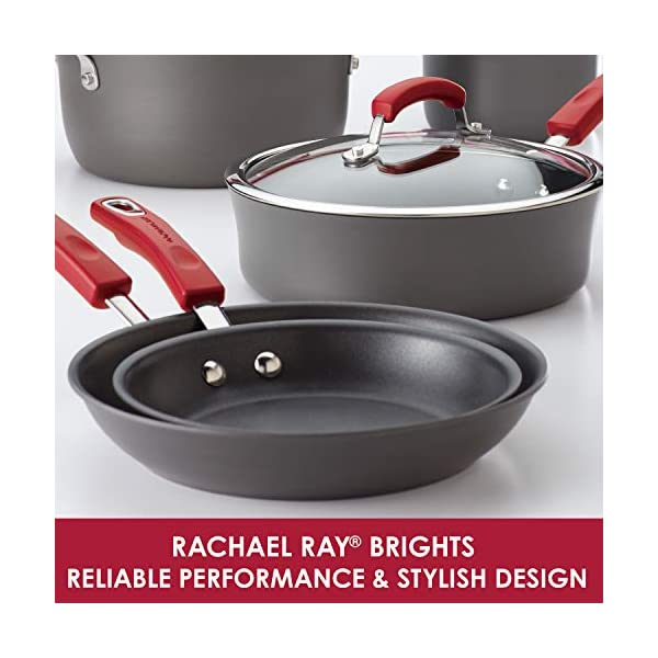 Rachael Ray Brights Hard-Anodized Nonstick Cookware Set with Glass Lids, 10-Piece Pot and Pan Set, Gray with Red Handles 5