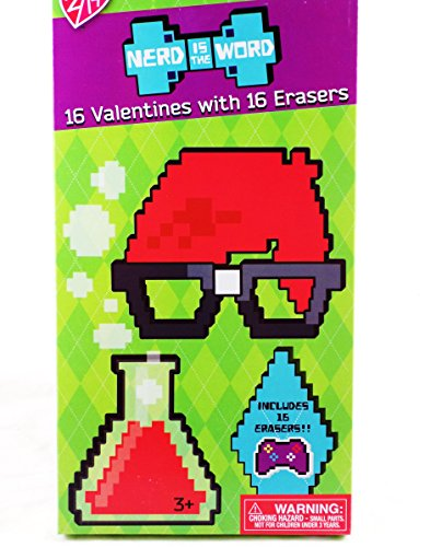 16 Nerd is the Word Valentine Classroom Sharing Cards with 16 Game Controller Erasers