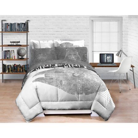 NEW! Modern Star Wars QUEEN Millennium Falcon Bedding Comforter Black Gray Whtie