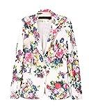 Leegoal Women Turn-down Collar Floral Printed Long Sleeves Suit Blazer(L)