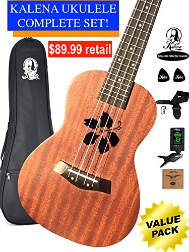 Kalena Factory Direct Mahogany Concert Ukulele with instruction book, strap, tuner, extra strings, felt picks, complete set for all ages (24