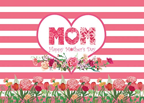 AIIKES 7x5FT Mother's Day Backdrop Pink Rose Floral Photography Background Customized Vinyl Romantic Mom Happy Birthday Photo Backdrop for Mother's Day Party Decoration 11-481]()