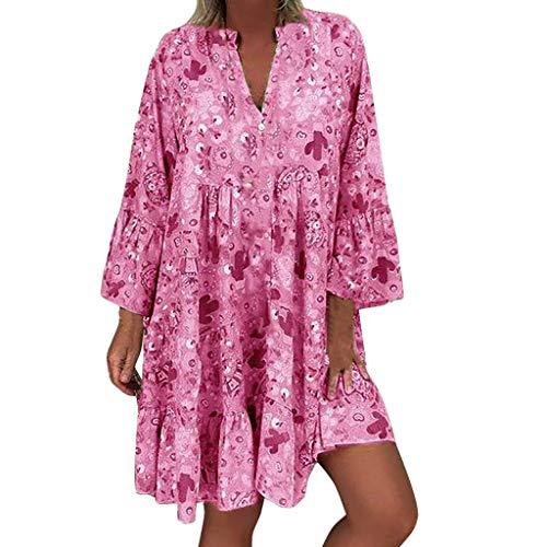 ADREAML Women's Summer Wrap V Neck Bohemian Floral Print Loose Three Quarter Sleeve Ruffle Swing A Line Beach Mini Dress Hot Pink