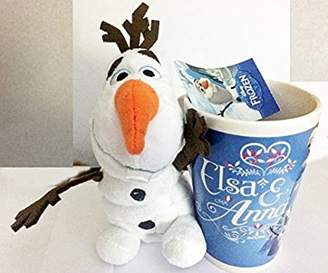 Amazon Com Disney Frozen Olaf 7 Plush Tall Mug Set 2 Elsa