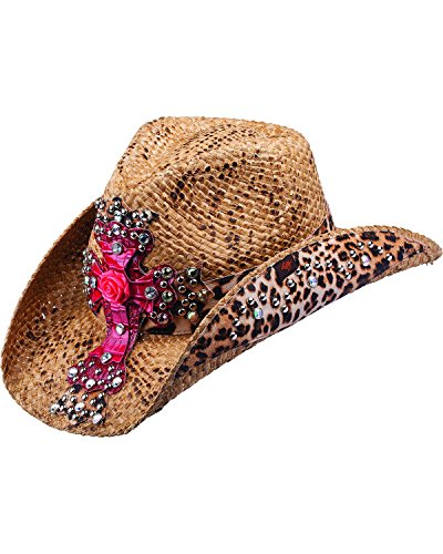 [Peter Grimm Ltd Women's Eris Leopard Print And Embellished Cross Straw Cowgirl Brown One Size] (Leopard Cowboy Hat)