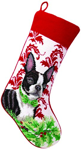 Peking Handicraft Boston Terrier Needlepoint Stocking, 11×18