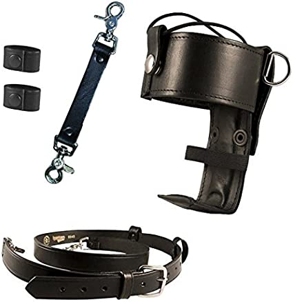 Universal Firefighters Radio Holder Belt with 2 Cord Keepers Radio Strap Anti-Sway Strap for Radio Strap Boston Leather Firefighters Bundle