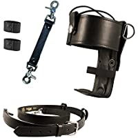 Boston Leather Firefighters Bundle- Anti-Sway Strap for Radio Strap, Radio Strap / Belt with 2 Cord Keepers, Universal Firefighters Radio Holder