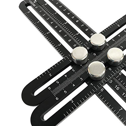 Multi Angle Ruler | Universal Angularizer Ruler | Template Tool [Black Premium Aluminum Edition] by Plus1Creations - Metal Angleizer for Designing and Crafting Projects - Measuring Building and Layout