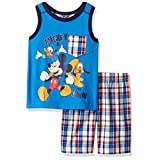Disney Boys' 2 Piece Mickey Muscle T-Shirt and Plaid Short Set, Blue, 12m