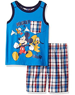 Disney Boys' 2 Piece Mickey Muscle T-Shirt and Plaid Short Set