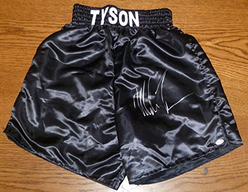 Mike Tyson Signed Auto'd Custom Boxing Trunks COA XL Autograph Black - PSA/DNA Certified - Autographed Boxing Robes and Trunks Autographed Custom Boxing Trunks