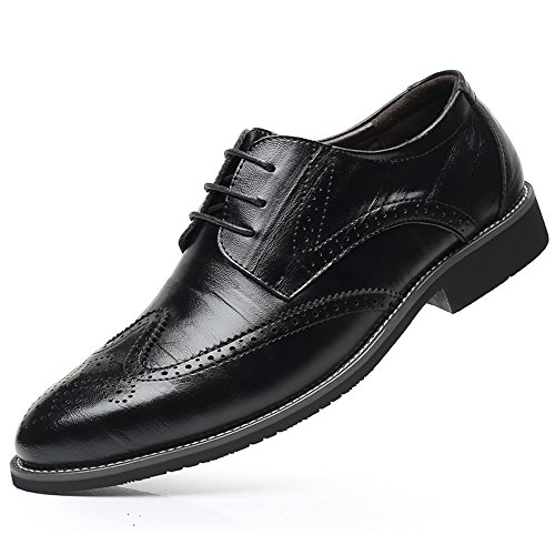 WEEN CHARM Men's Genuine Leather Dress Oxford Shoes Brogue Wing-Tip Lace up Modern Business Shoes ()
