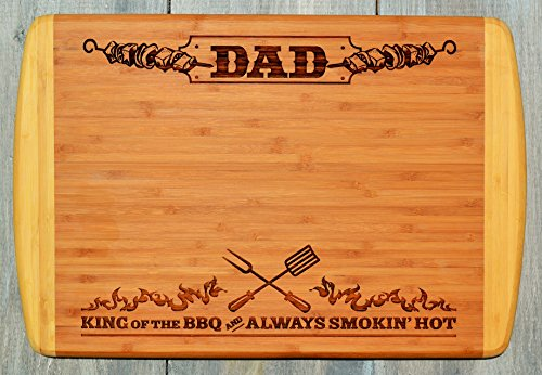 - GIFT DAD FATHER ~ Engraved Large 2-Tone Bamboo Cutting Board for Dad ~ 2-Sided Design ~ Engraved Side Designed For Display ~ Reverse Side For Usage ~ Birthday Gift Dad Christmas Gift Fathers Day Gift