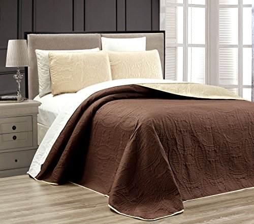 """3-Piece CHOCOLATE BROWN / KHAKI Oversize """"ORNATO"""" Reversible Bedspread QUEEN / FULL Embossed Coverlet set 106 by 100-Inch"""