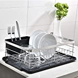 POPILION Quality Kitchen Sink Side Antimicrobial Draining Dish Drying Rack,Dish Rack with Black Drainboard