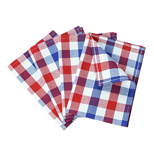 Plaid Dish Towel (VEEYOO 14 x 20 inch (36 x 51 cm) 100% Cotton Kitchen Dish Towel Set of 4 Gingham Check Tea Cloth, Machine Washable, Ultra Absorbent, Red, Navy & White)